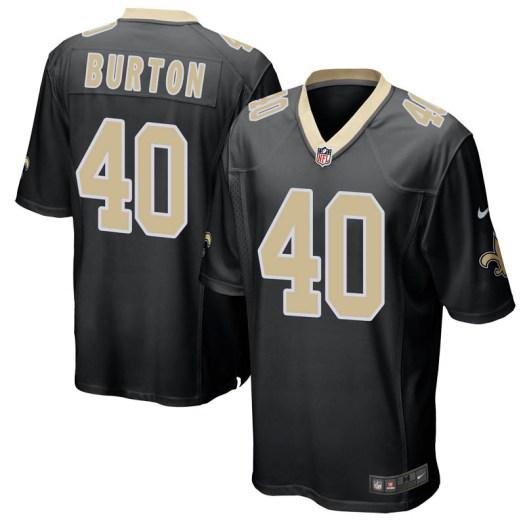 best service b90ee d83b3 Nike Michael Burton New Orleans Saints Game Black Team Color Jersey - Men's