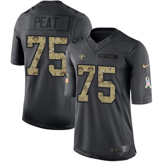 Nike Andrus Peat New Orleans Saints Limited Black 2016 Salute to Service Jersey - Youth